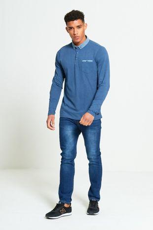 Denim Long Sleeve Welt Polo T-Shirt