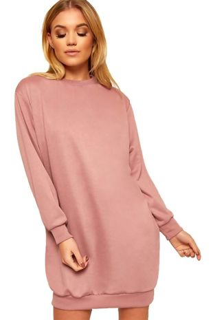 Fluorescent Pink Oversized Pocket Sweat Dress