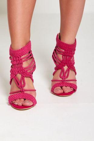 Fuchsia Woven Strappy Heels