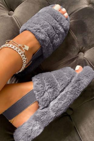 Grey Faux Fur Fluffy Stripe Slipper