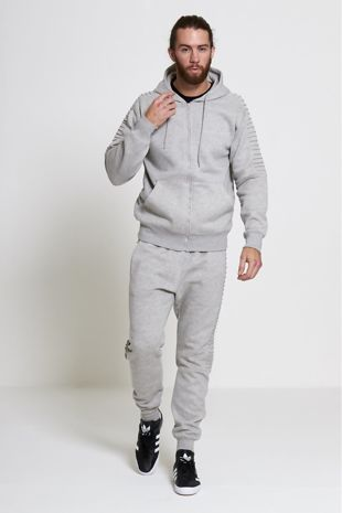 Grey Ribbed Hooded Tracksuit