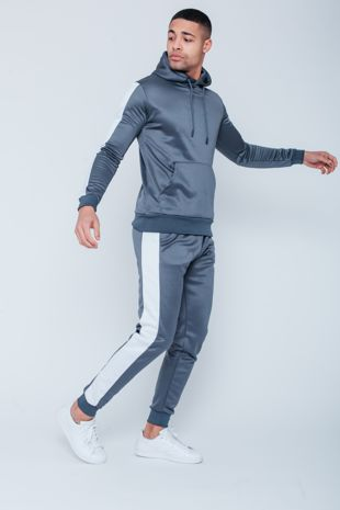 Grey White Tape Pouch Pullover Tracksuit