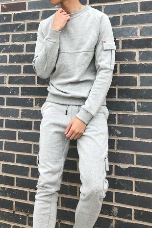 Grey Skinny Cargo Sweater Tracksuit