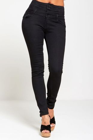 High Rise Button Up Black Skinny Jeans