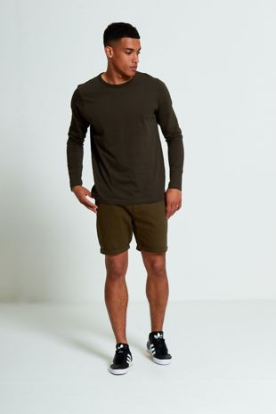 Khaki Crew Neck Long Sleeve T-Shirt