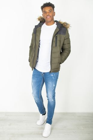 Khaki Faux Fur Hood Padded Jacket