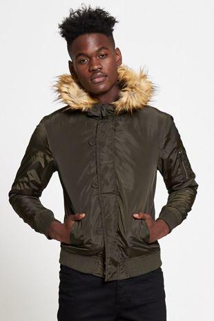 Khaki Fleece Lined Fur Hood Bomber Jacket