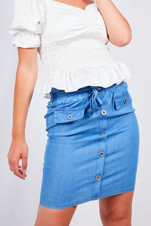 Light Denim Button Front Paperbag Waist Skirt