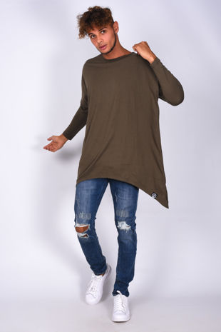 Khaki Long Sleeve Longline T-Shirt