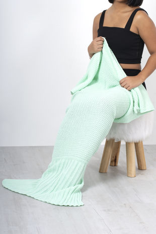 Mint Knitted Mermaid Tail Blanket