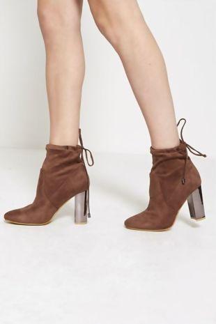 Mocha Faux Suede Ankle Heels