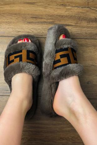 Mocha Faux Fur Printed Strap Platform Slippers