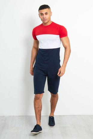 Navy Colour Block Paneled T-Shirt & Shorts Set