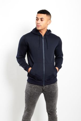 Navy Contrast Piping Detail Zip Up Hoodie