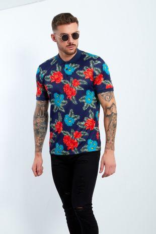 Navy Floral Print Polo Shirt