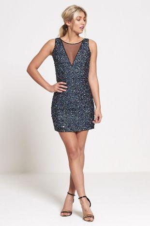 Navy Premium Sequinned Mini Dress