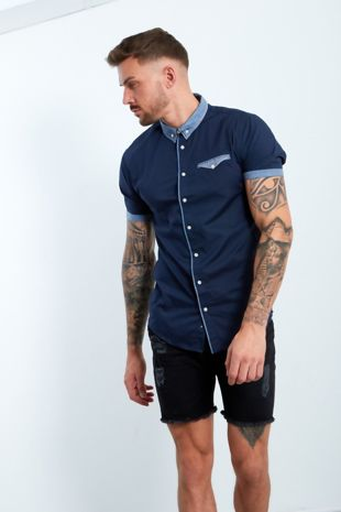 Navy Shirt With Gingham Collar And Pocket