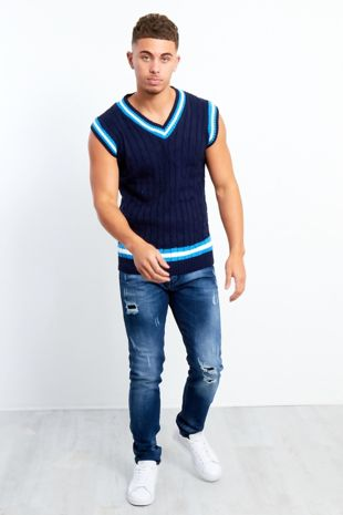 Navy Sleeveless Cable Knitted V Neck Cricket Jumper