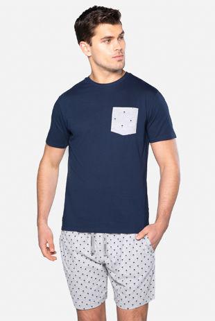 Navy With Grey Louie Cotton Pyjama Set