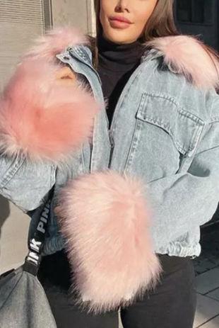Pink Detachable Faux Fur Denim Jacket