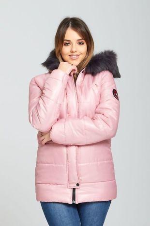 Pink Fur Trim Hooded Puffer Jacket
