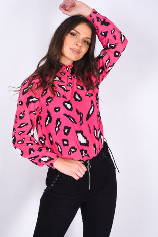 Pink Leopard Print High Neck Sheered Blouse