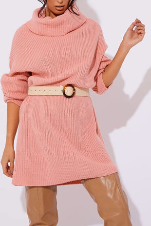 Dusty Pink Roll Neck Knitted Jumper Dress