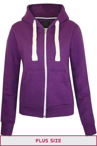 Plus Size Unisex Purple Plain Hoodie