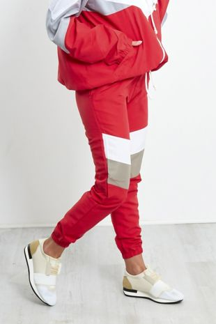 Red and White Stripe Panel Trouser