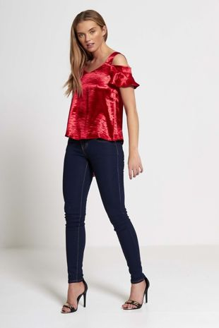 Red Frilly Sleeved Top