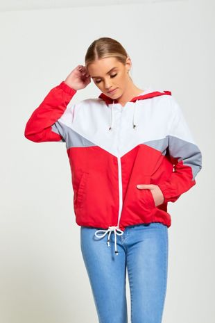 Red Two Tone Cagoule Jacket
