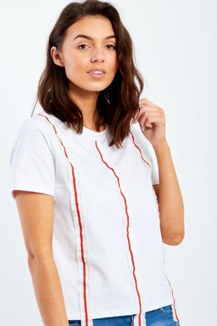 Retro Ribbon Trim Red Top