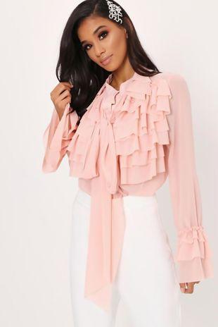 Dusty Pink Ruffle Bow Blouse