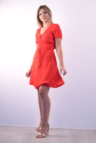 Red Button Up Belted Mini Dress