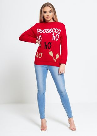 Red Presecco Ho Ho Christmas Jumper