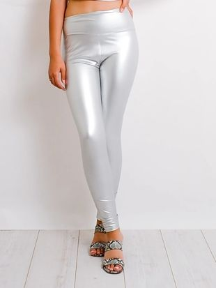 Silver Leather Look High Waist Leggings