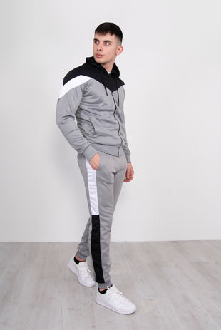 Silver With Black Chevron Stripe Poly Tracksuit