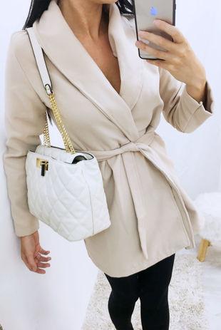 Stone Belted Wrap Detail Wool Look Coat
