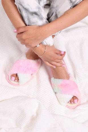 Tie Dye Fluffy Cross Strap Slider Slippers