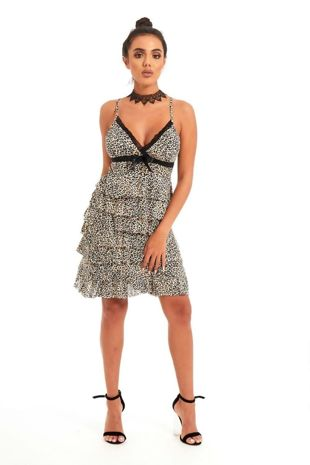 Tiger Print Ruffle Bow Cami Dress