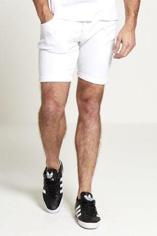 White Zip Detail Denim Shorts