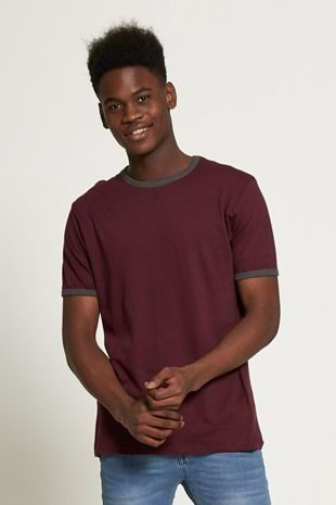 Wine Contrasting Collar T-shirt