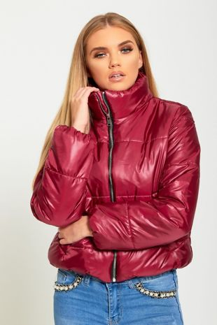 Wine Cropped High Neck Puffer Jacket