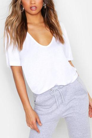 White Extreme V Front Oversized T-Shirt