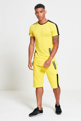 Yellow And Black Contrast Dip Hem T-Shirt and Short Set