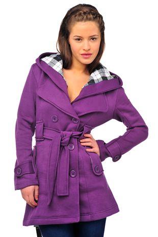 Purple Double Breasted Fleece Hood Belted Coat
