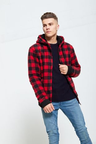 Red Checked Fleece Hood Jacket