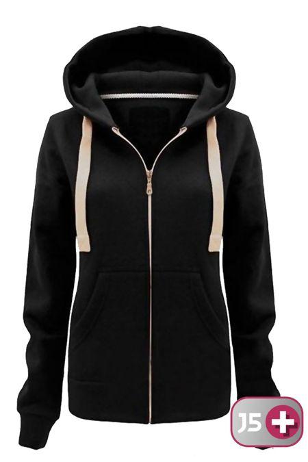 Plus Size Unisex Black Plain Hoodie