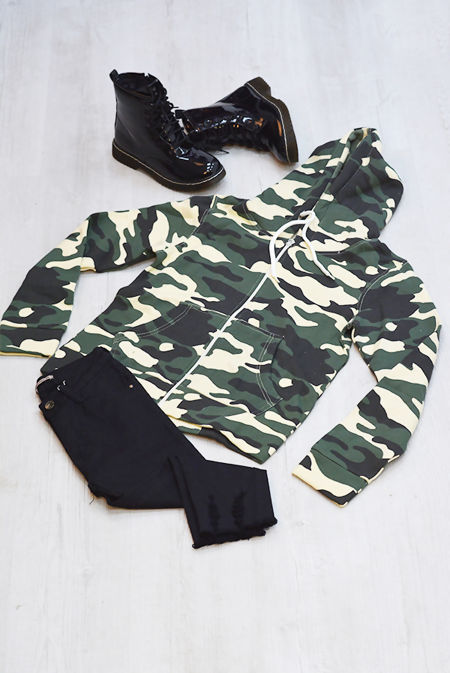 Camouflage Zip Up Hooded Jacket