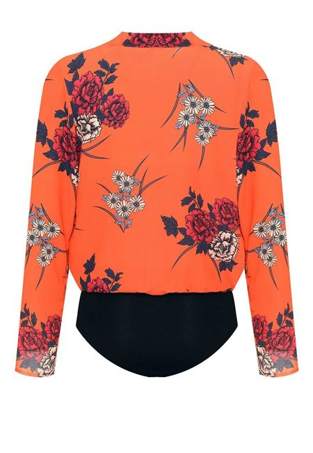 Plus Size Orange Wrapover Floral Print Bodysuit